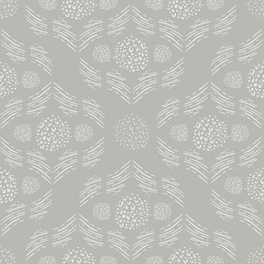 Pewter Hand Drawn Modern Geometric Damask Lace // Sing for Your Supper // Modern Farmhouse Collection