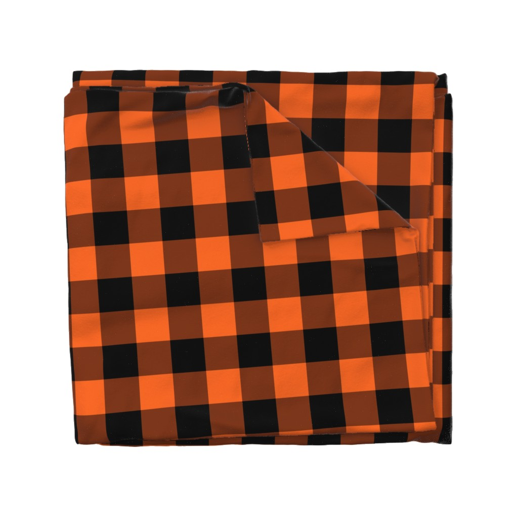 Wyandotte Duvet Cover featuring Halloween Buffalo Plaid  by the_artwerks