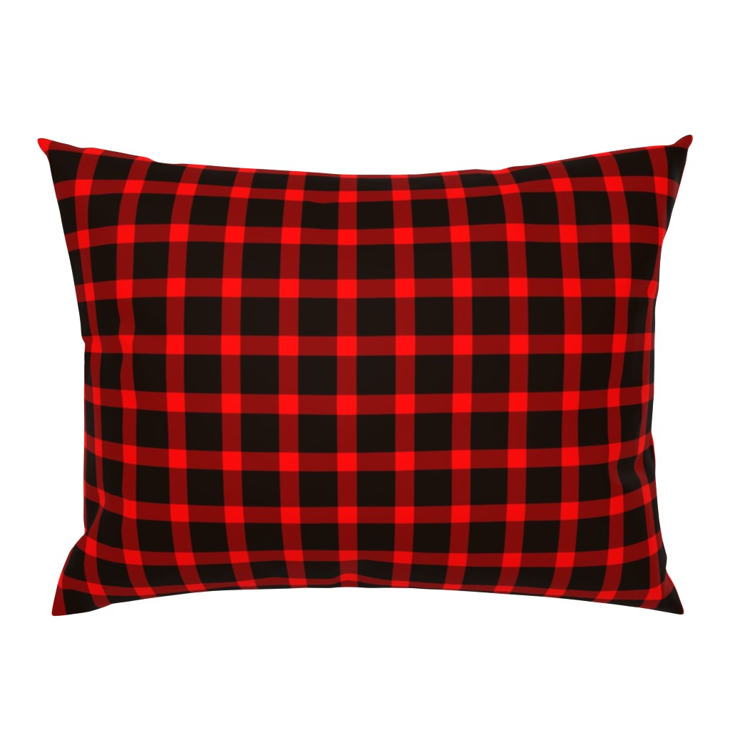 Campine Pillow Sham featuring Classic Buffalo Plaid // Black and Red by theartwerks