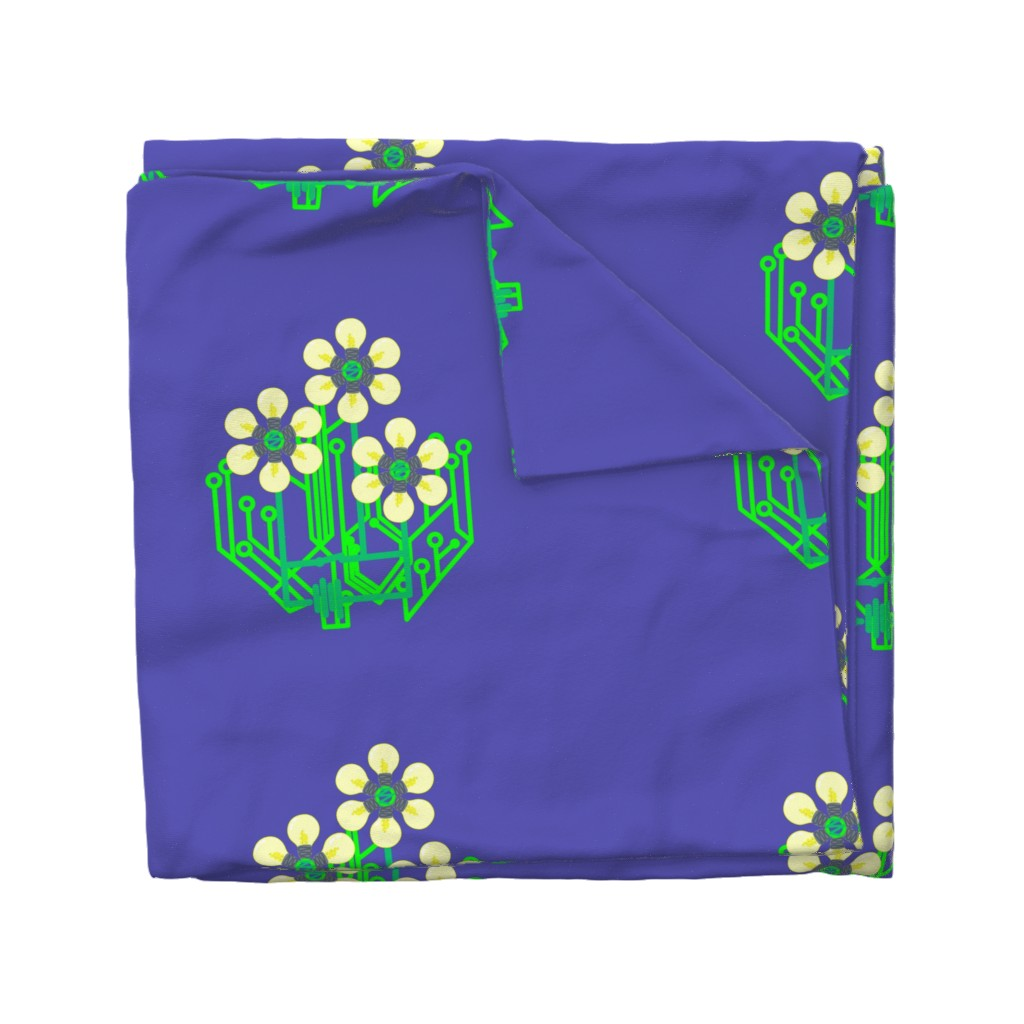 Wyandotte Duvet Cover featuring Bright as a daisy bag panel - sky blue by dustydiscoball