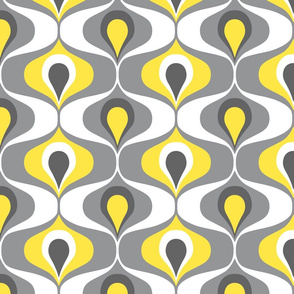 Ultimate Gray Illuminating Yellow Retro 70s ogee ovals Wallpaper Fabric