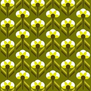 Retro 70s flowers olive green Art Deco Fabric
