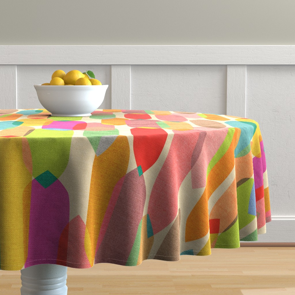 Malay Round Tablecloth featuring Mid Century Droplets {Kaleidoscope} - large by ceciliamok