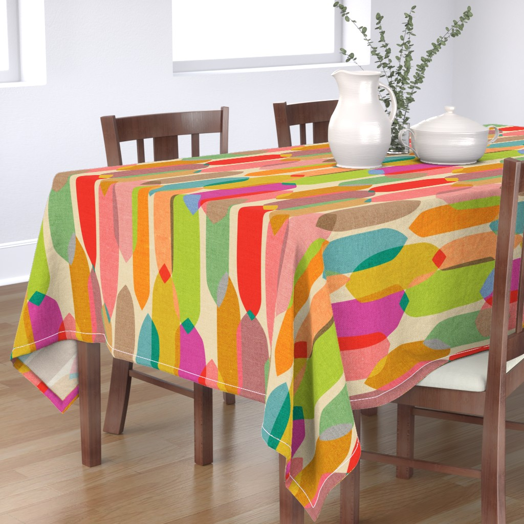 Bantam Rectangular Tablecloth featuring Mid Century Droplets {Kaleidoscope} - large by ceciliamok