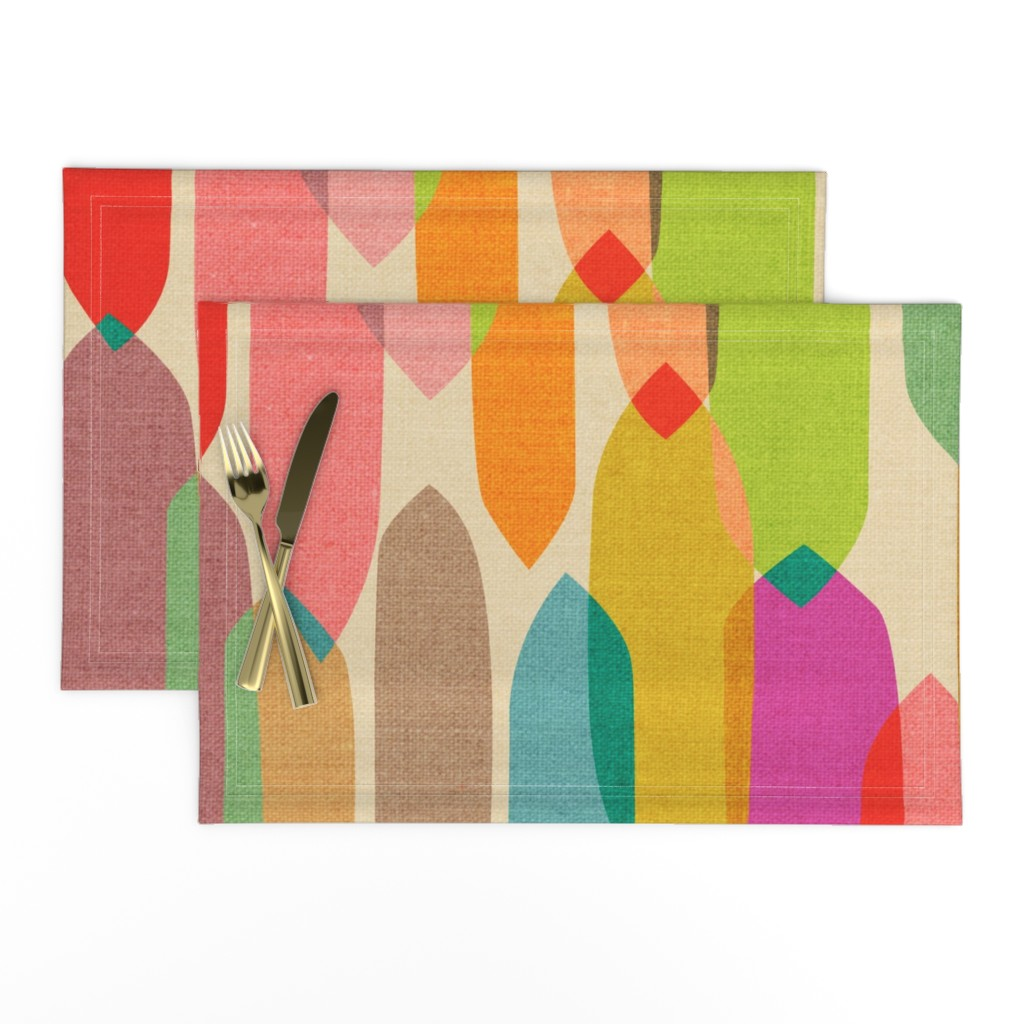 Lamona Cloth Placemats featuring Mid Century Droplets {Kaleidoscope} - large by ceciliamok