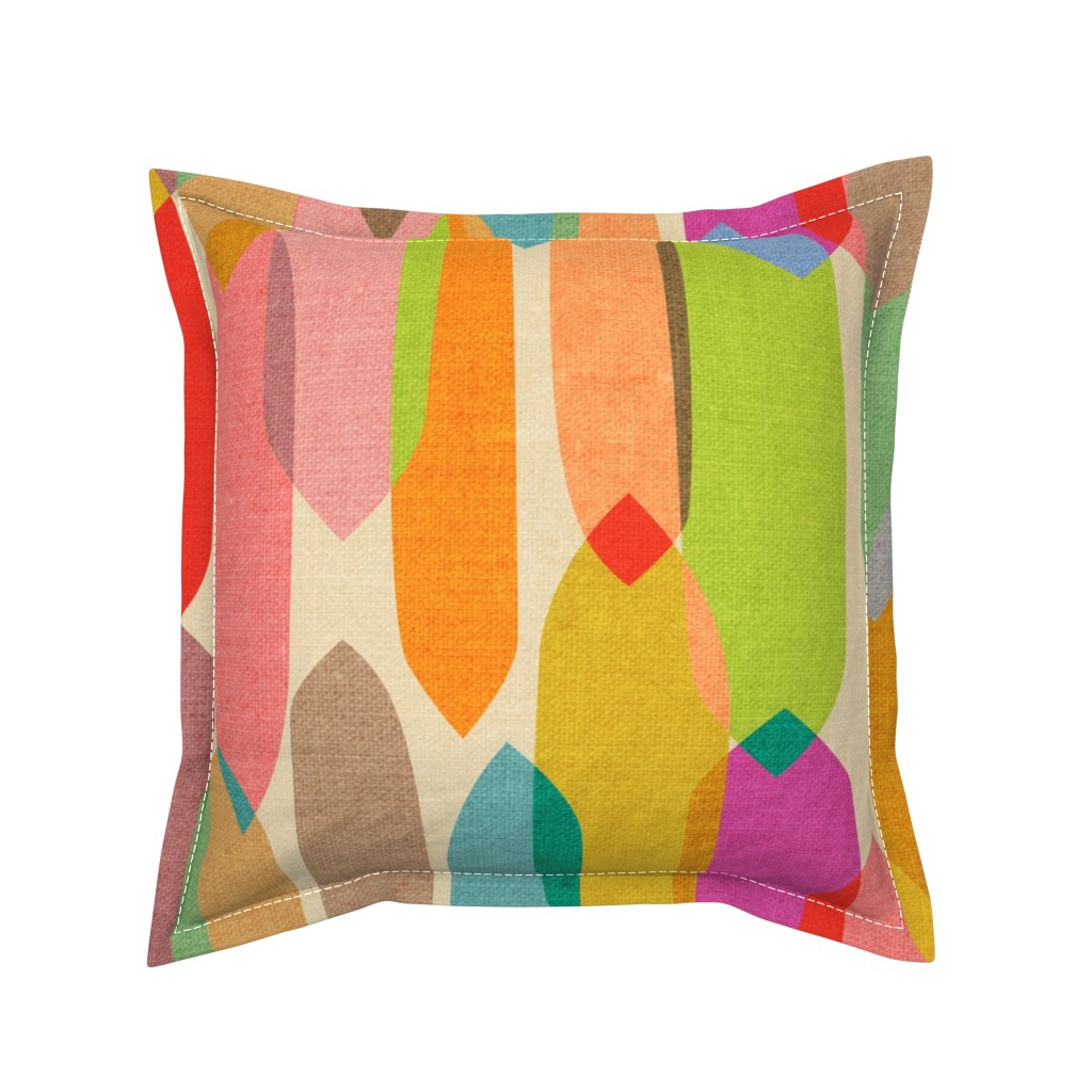 Serama Throw Pillow featuring Mid Century Droplets {Kaleidoscope} - large by ceciliamok