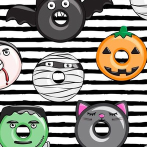 "(3"" scale) halloween donut medley - black stripes - monsters pumpkin frankenstein black cat Dracula  C18BS"