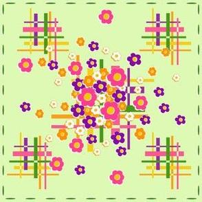 1960s hashtag daisy squares mint green