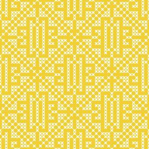 Illuminating Yellow rustic farmhouse cross-stitch geometrics Wallpaper Fabric