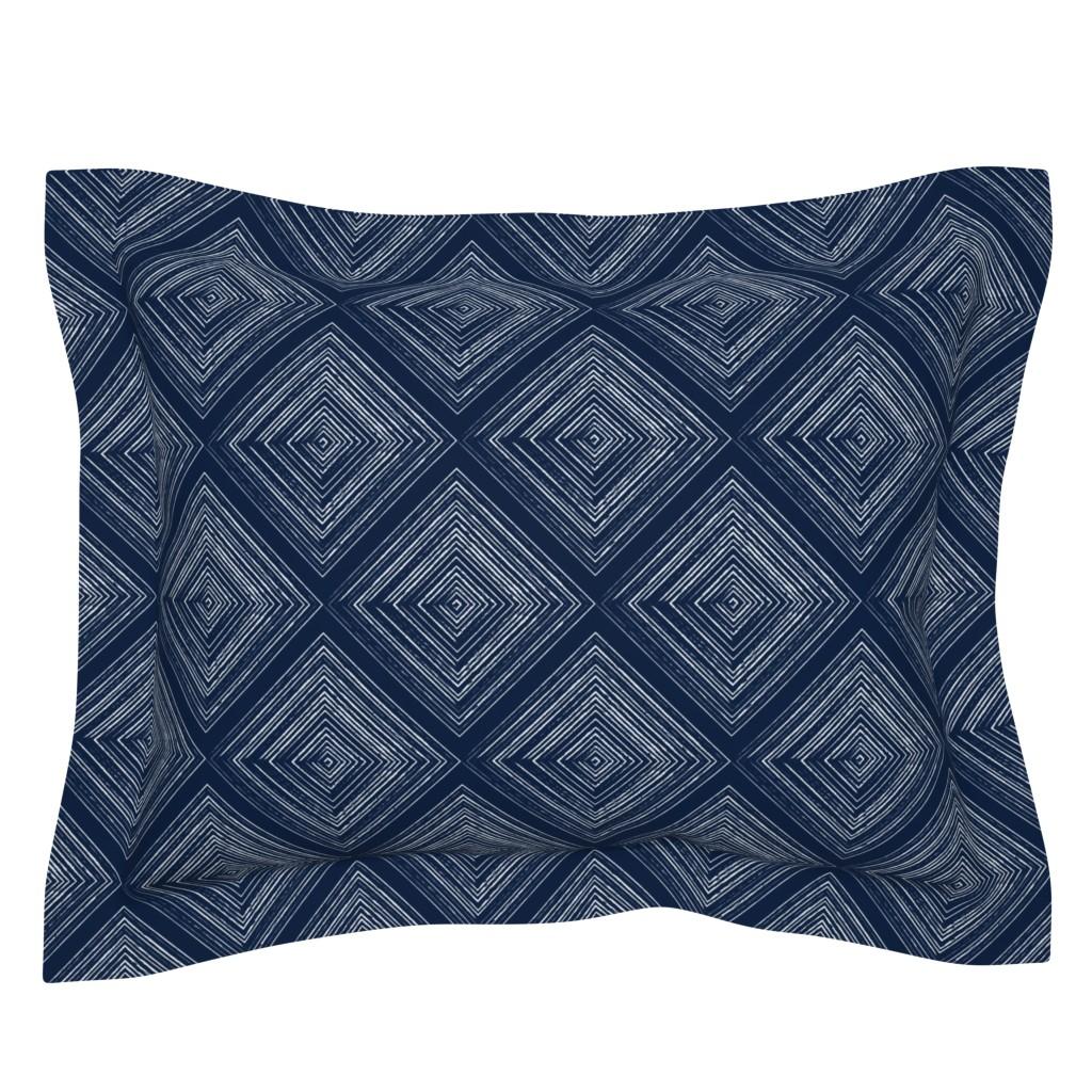 Sebright Pillow Sham featuring Modern Farmhouse Diamonds Navy White by jenflorentine