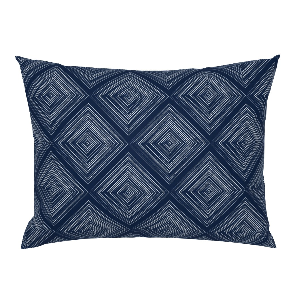 Campine Pillow Sham featuring Modern Farmhouse Diamonds Navy White by jenflorentine