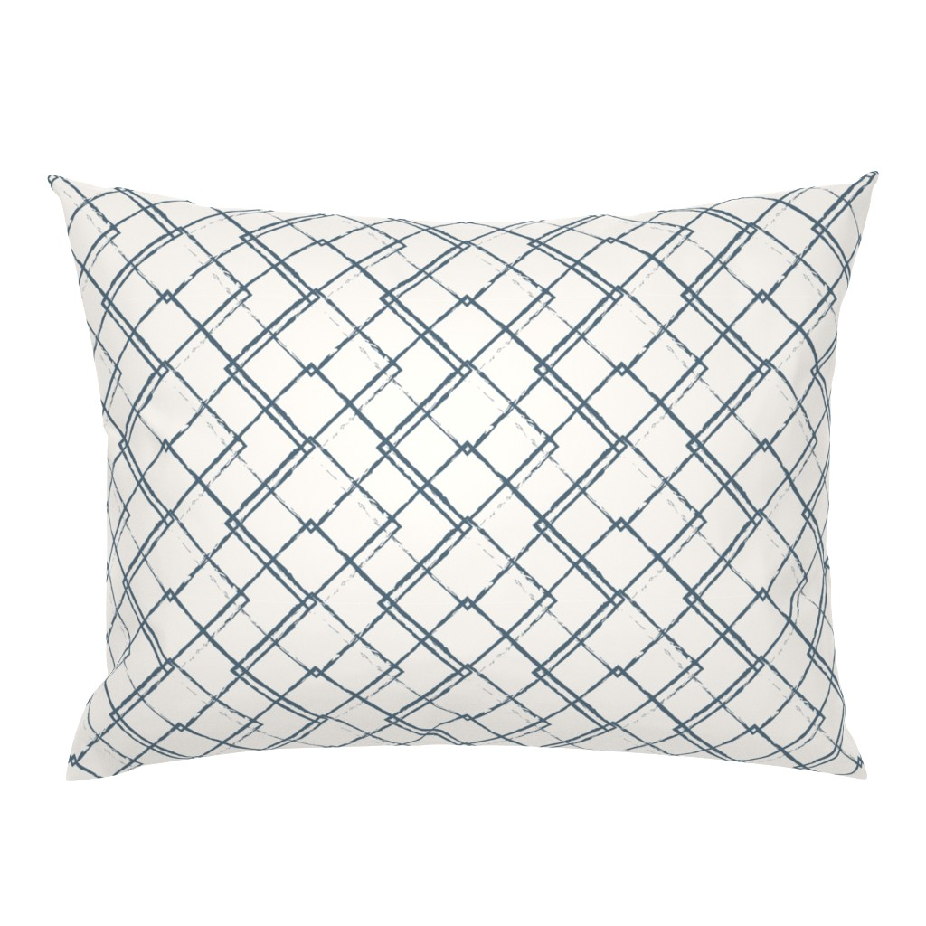 Campine Pillow Sham featuring Modern Farmhouse Diamond Teal and White by jenflorentine
