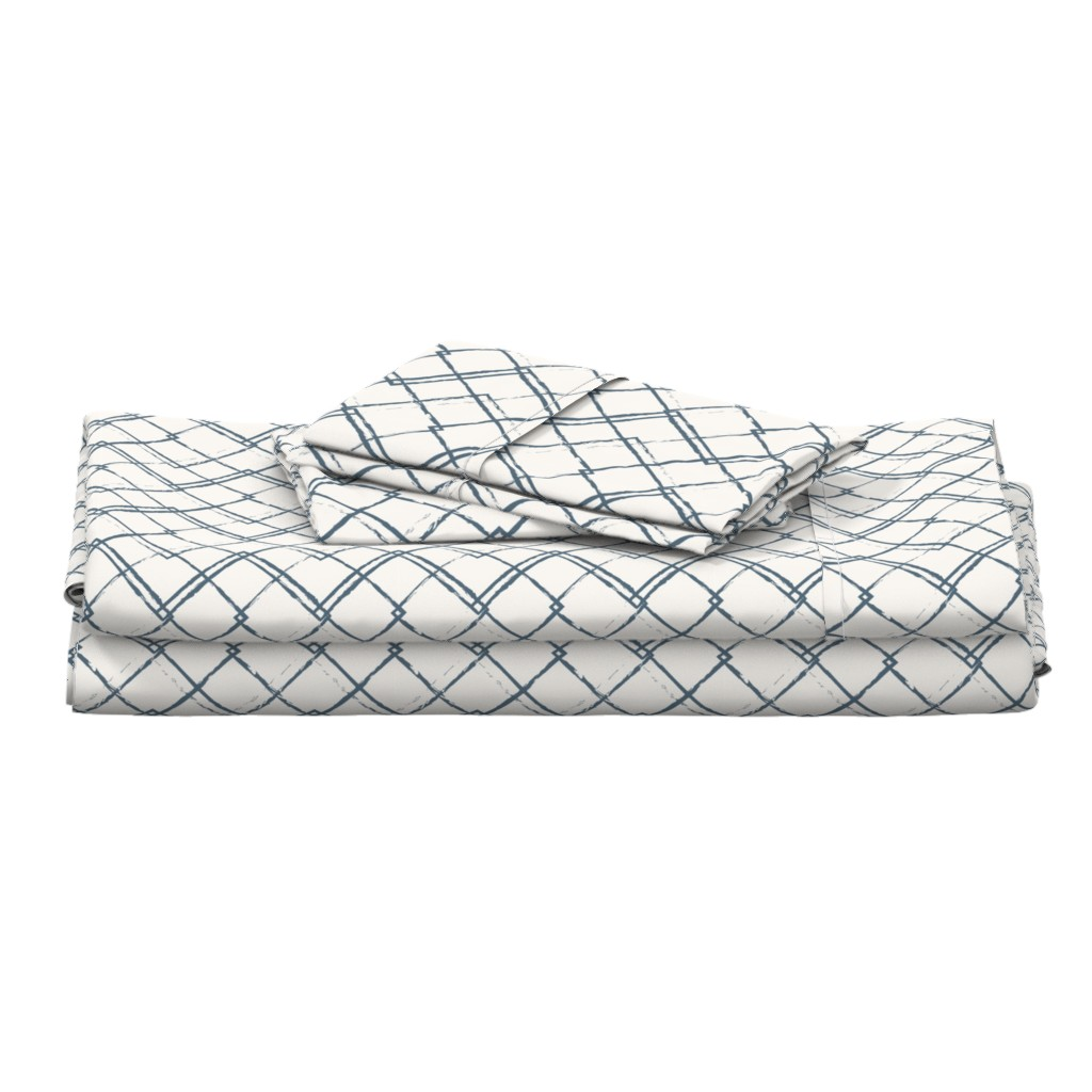 Langshan Full Bed Set featuring Modern Farmhouse Diamond Teal and White by jenflorentine