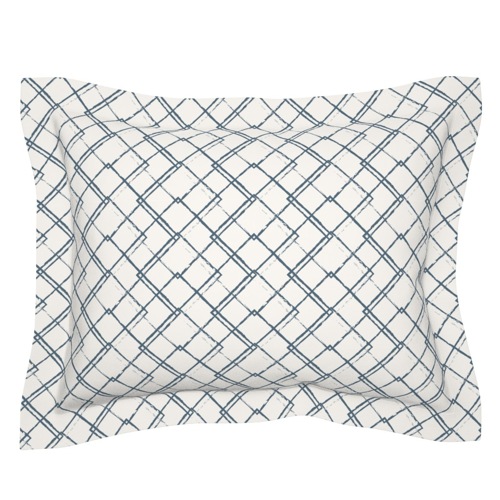 Sebright Pillow Sham featuring Modern Farmhouse Diamond Teal and White by jenflorentine