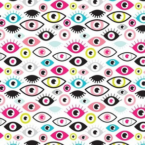 Beautiful eyes retro eye lash and love wink retro illustration pattern SMALL