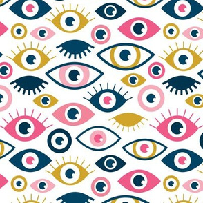 Beautiful eyes retro eye lash and love wink retro illustration girls pink yellow pattern