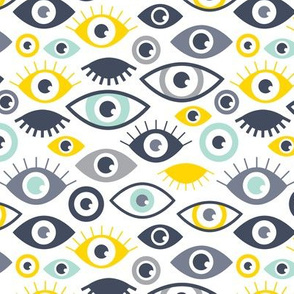 Beautiful eyes retro eye lash and love wink retro illustration boys mint yellow pattern