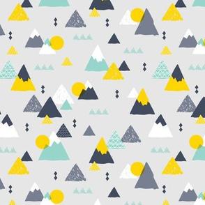 Geometric fuji japan mountain illustration winter woodland boys mint yellow