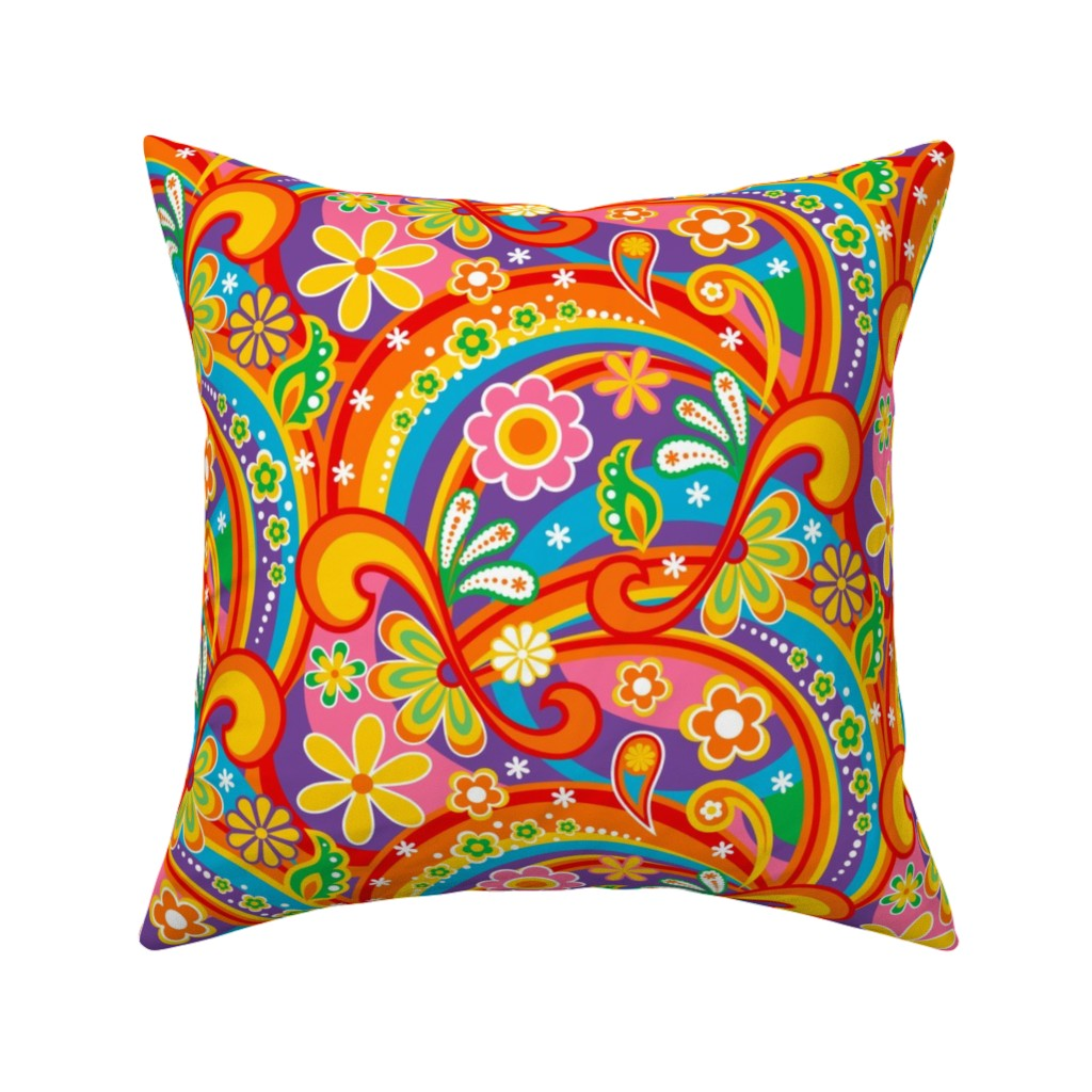 Catalan Throw Pillow featuring 1960_Psychedelic Flower Power by mia_valdez