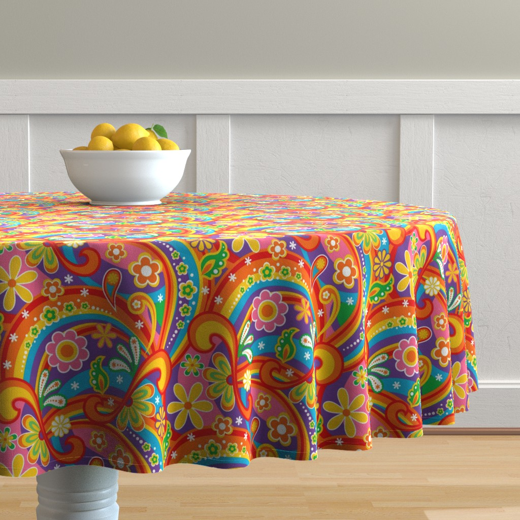 Malay Round Tablecloth featuring 1960_Psychedelic Flower Power by mia_valdez