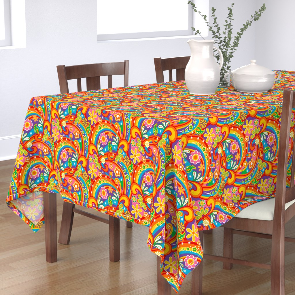 Bantam Rectangular Tablecloth featuring 1960_Psychedelic Flower Power by mia_valdez