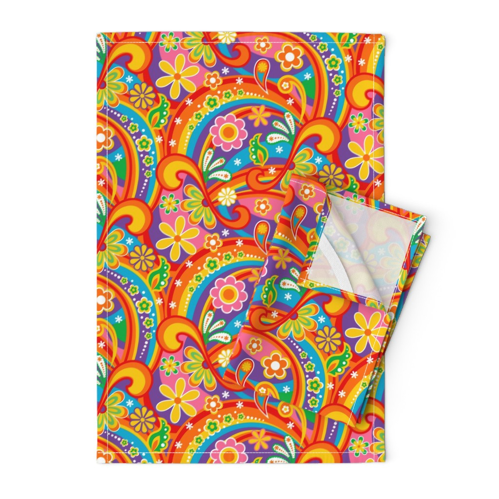 Orpington Tea Towels featuring 1960_Psychedelic Flower Power by mia_valdez