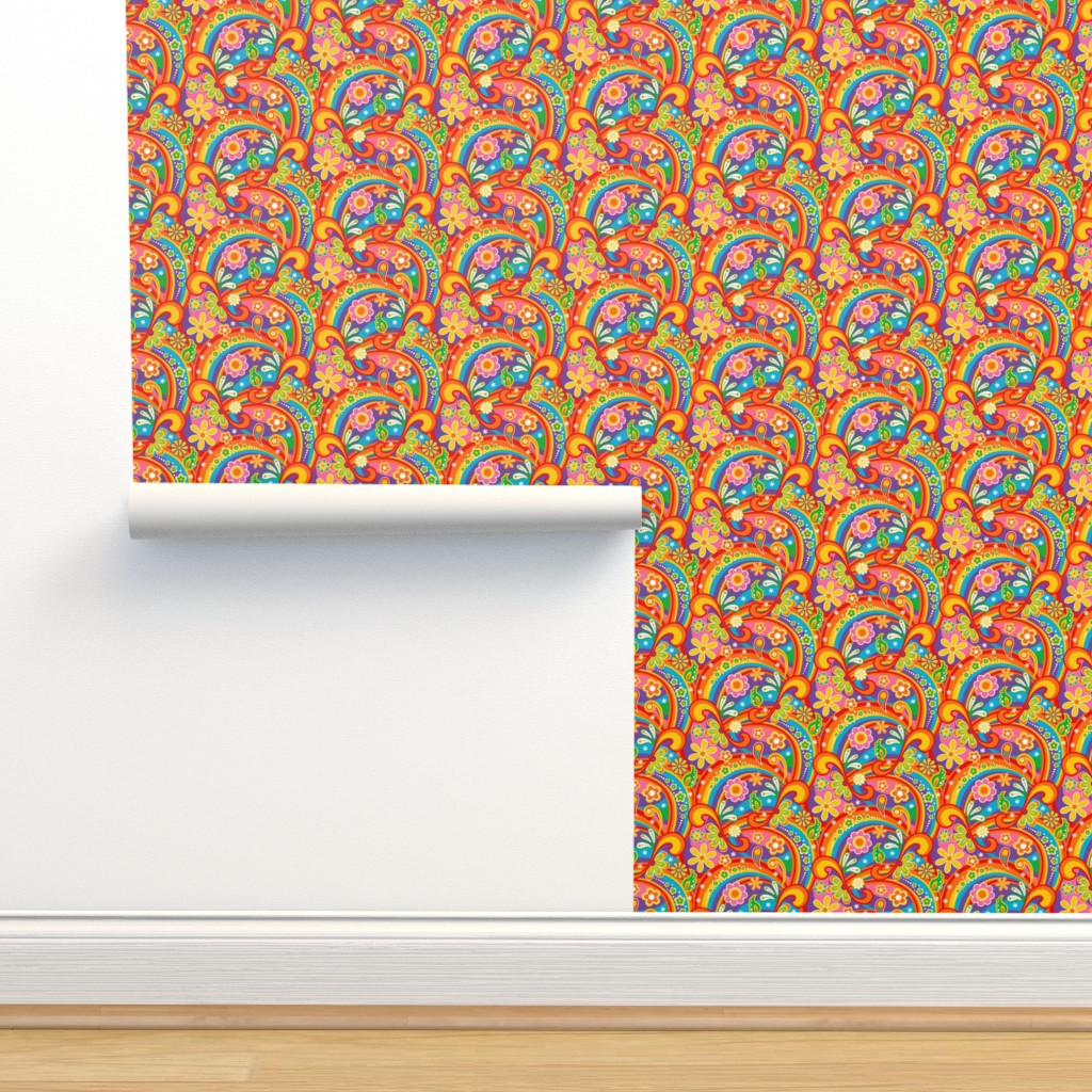 Isobar Durable Wallpaper featuring 1960_Psychedelic Flower Power by mia_valdez