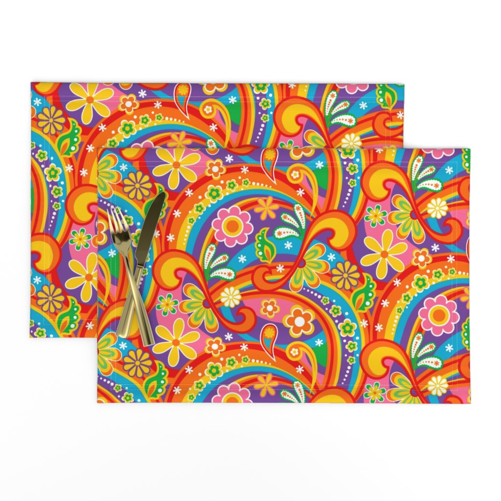 Lamona Cloth Placemats featuring 1960_Psychedelic Flower Power by mia_valdez