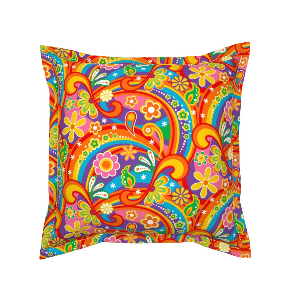 Serama Throw Pillow featuring 1960_Psychedelic Flower Power by mia_valdez