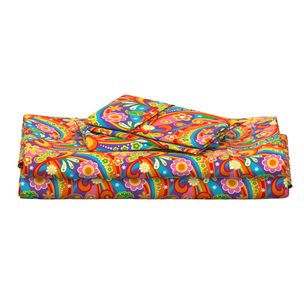 Langshan Full Bed Set featuring 1960_Psychedelic Flower Power by mia_valdez