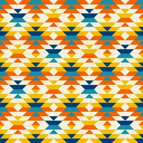 Aztec textured colorful navajo diamonds orange Fabric