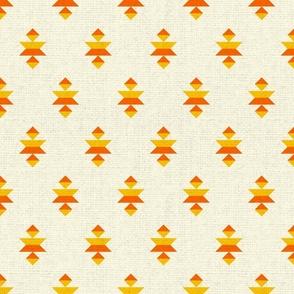 Aztec elements textured orange bohemian Fabric