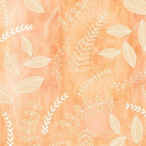 Leaves on Watercolour - apricot