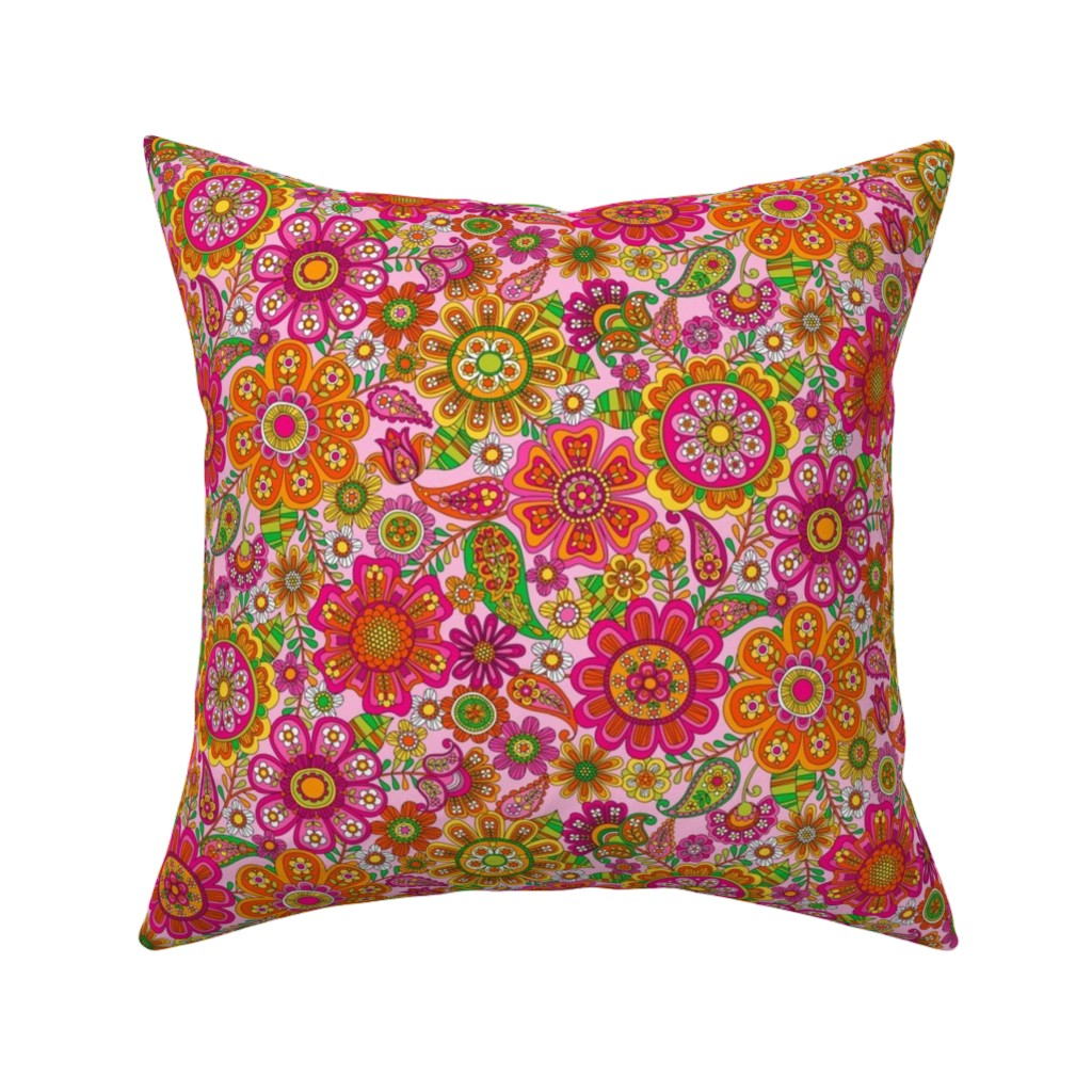 Catalan Throw Pillow featuring Flower Power by emma_heeson_design