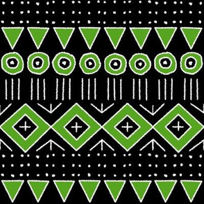 mudcloth 2 in black and lime green