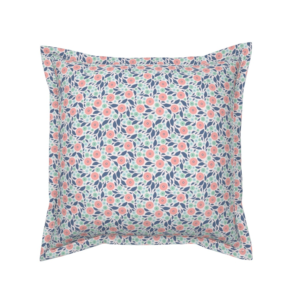 Serama Throw Pillow featuring Spring Harmony - Simple Modern Floral by ms_jenny_lemon