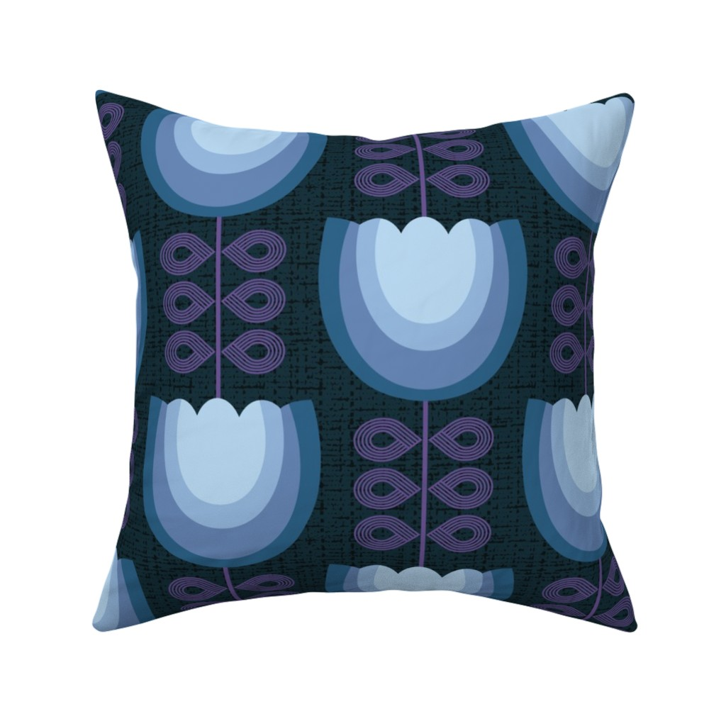 Catalan Throw Pillow featuring Mod blue flowers-60s by ottomanbrim