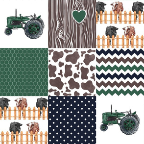 Farm//Love you till the cows come home//Hereford/Angus - Wholecloth Cheater Quilt