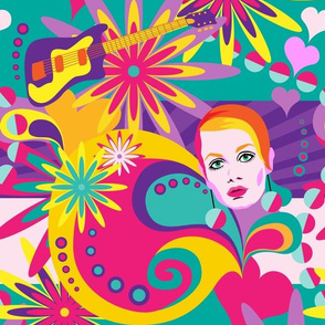 sixties colour explosion - flowers and music