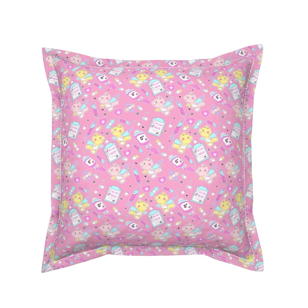 Serama Throw Pillow featuring Yami Kawaii Teddy Bears by FrostedSoSweet by noeldraws