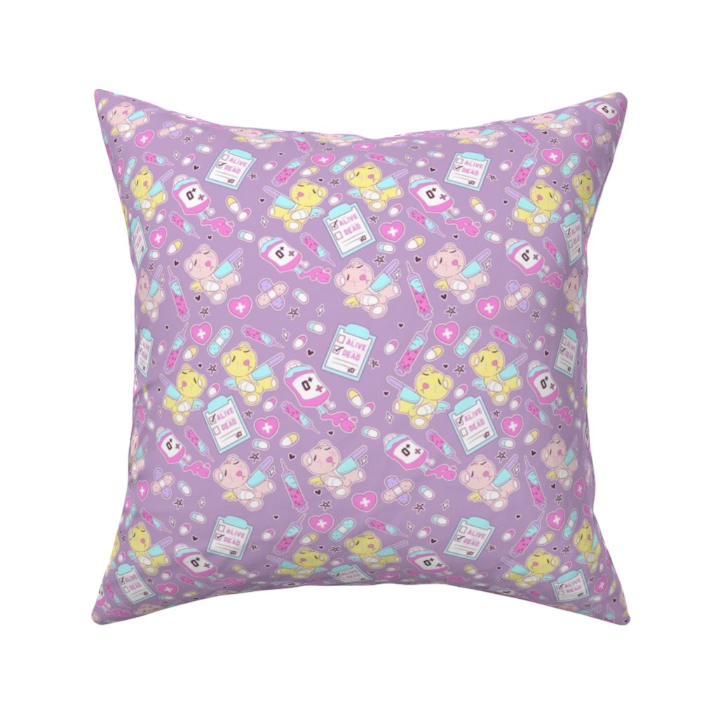 Catalan Throw Pillow featuring Purple Creepy Cute Teddy Bears by FrostedSoSweet by noeldraws