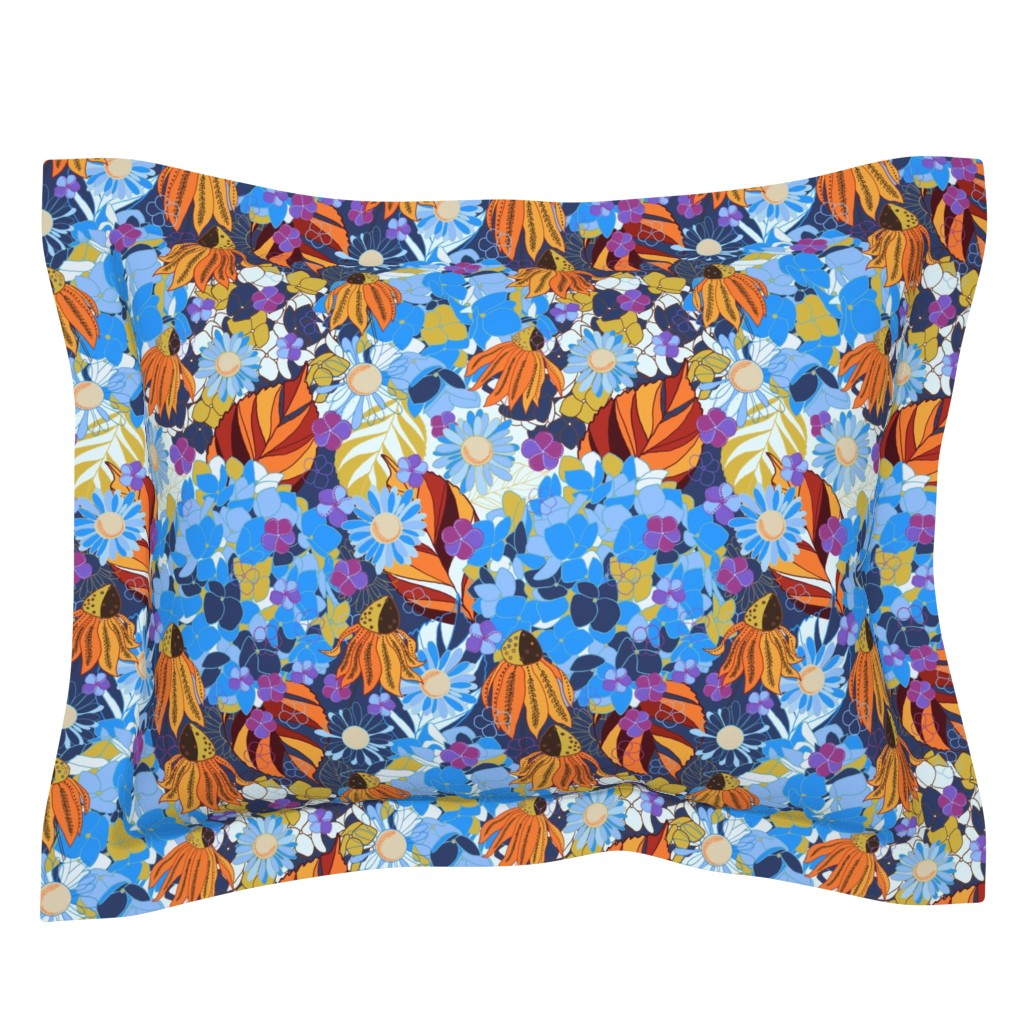 Sebright Pillow Sham featuring 1960s Autumn Vibes by helenpdesigns