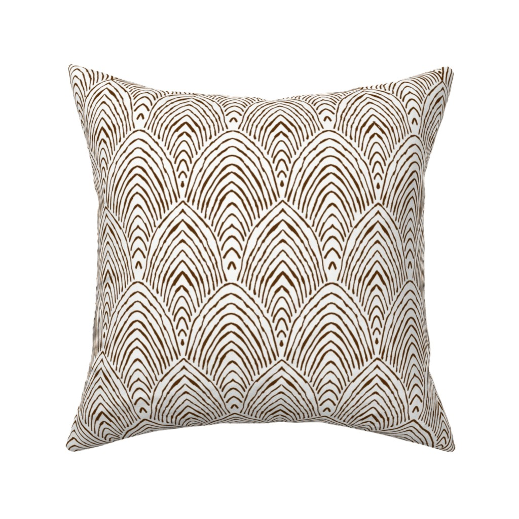 Catalan Throw Pillow featuring prairie mountains - burnt umber by alison_janssen