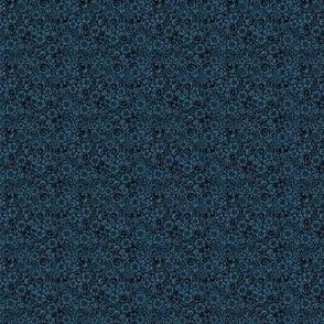 Floral Dark Steel Blue Miniature
