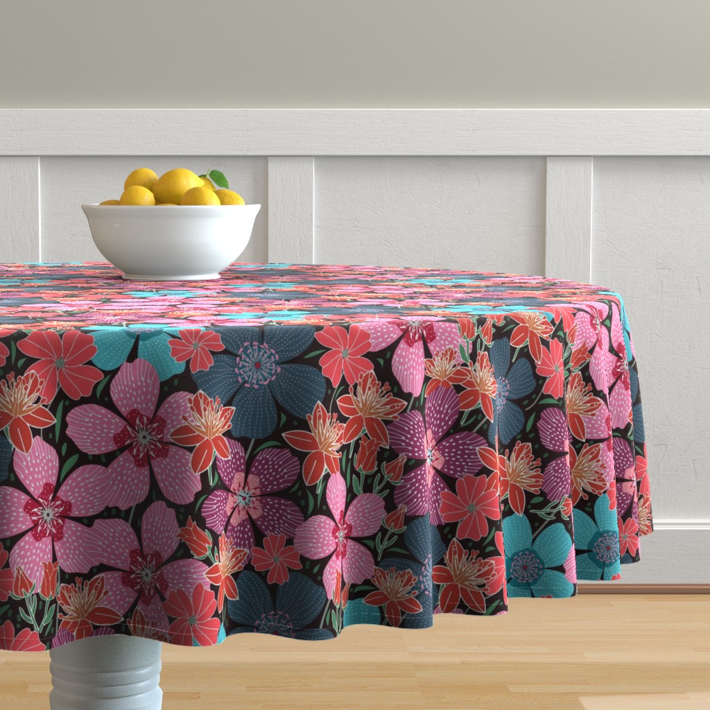 Malay Round Tablecloth featuring 1960s retro florals by y_me_it's_me