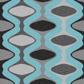 60s Ogee Stripe - Gray, Blue