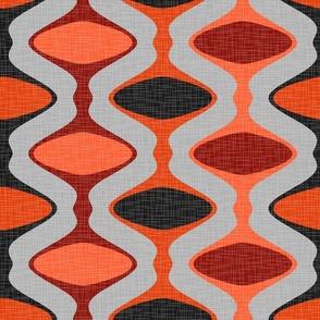 60s Ogee Stripe - Orange, Black, Gray