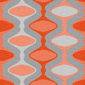 60s Ogee Stripe - Orange, Gray