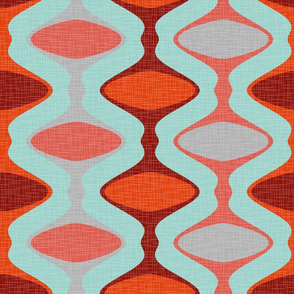 60s Ogee Stripe - Red, Aqua