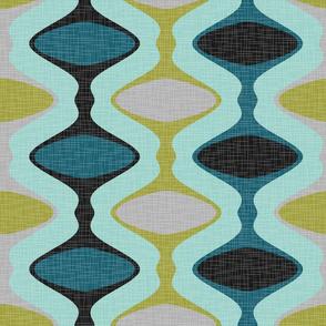 60s Ogee Stripe - Teal, Olive, Aqua